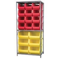 Steel Shelving with plastic bins