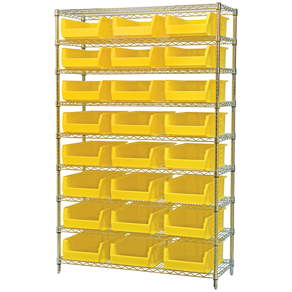 Wire Shelving with plastic bins