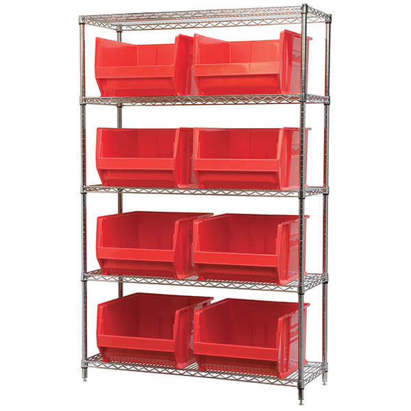 Large Plastic Bins in Wire Shelving