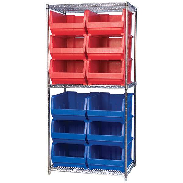 Wire Shelving with Super-Size Bins