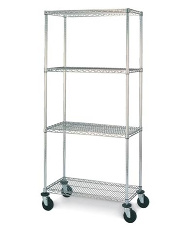 chrome economy wire shelving cart larger photo email a friend - Chrome Wire Shelving