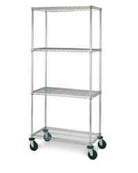 "J1836-63CM Chrome Wire Shelving Cart 69""High 