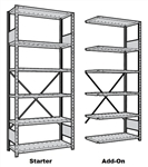 Rousseau Shelving with 5 metal shelves