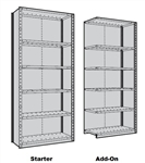 Rousseau Closed Shelving with 5 metal shelves
